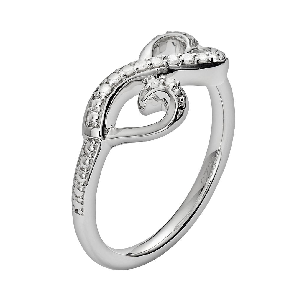 Love Is Forever Sterling Silver 1/10-ct. T.W. Diamond Double Heart Ring