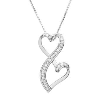 Love Is Forever Sterling Silver 1/5-ct. T.W. Diamond Double Heart Pendant