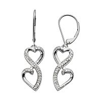 Love Is Forever Sterling Silver 1/7-ct. T.W. Diamond Double Heart Drop Earrings