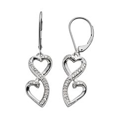 Love Is Forever Sterling Silver 1/7 ctT.W. Diamond Double Heart Drop Earrings