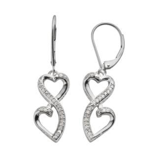 Love Is Forever Sterling Silver 1/7-ct. T.W. Diamond Double Heart Drop Earrings