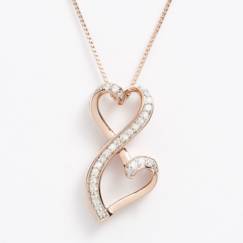 VALENTINES  DAY 1//10 Cttw Diamond Double Layout Love /& Heart V-Necklace Pendant