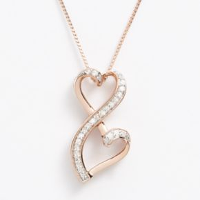 Love Is Forever 14k Rose Gold Over Silver 1/5-ct. T.W. Diamond Double Heart Pendant