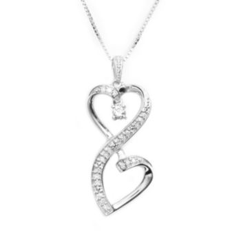 Love Is Forever Sterling Silver 1/6-ct. T.W. Diamond Double Heart Pendant