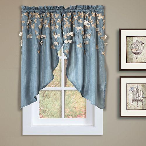"""Lush Decor Flower Drops Swag Curtain Pair - 58"""" x 39"""""""