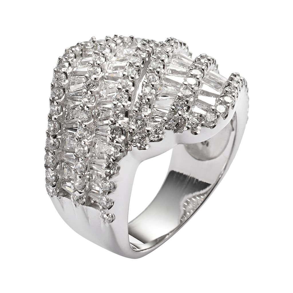 Sophie Miller Sterling Silver Cubic Zirconia Wrap Ring