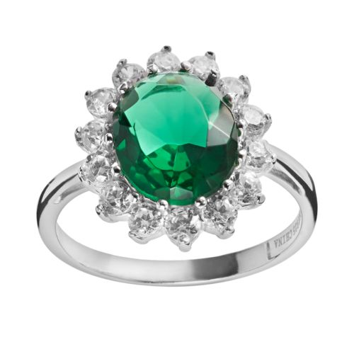 Sophie Miller Sterling Silver Simulated Emerald and Cubic Zirconia Halo Ring