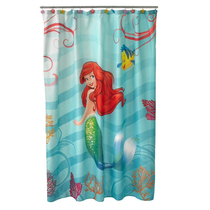 Disney little mermaid shimmer and gleam fabric shower curtain