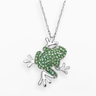 Artistique Sterling Silver Crystal Frog Pendant - Made with Swarovski Crystals