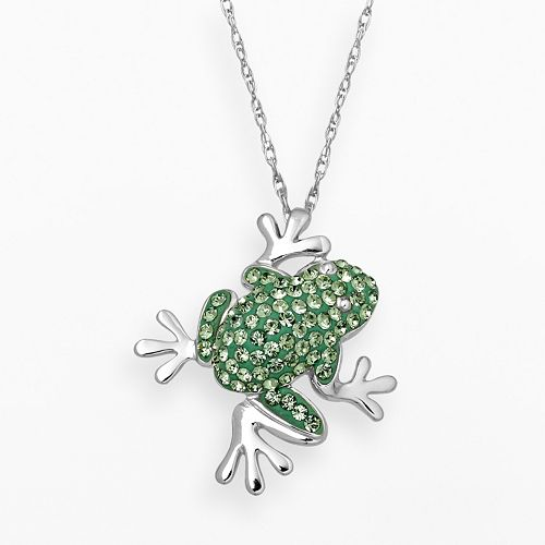 Artistique Sterling Silver Crystal Frog Pendant - Made with Swarovski Crystals