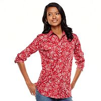 Petite Chaps Floral Poplin Shirt