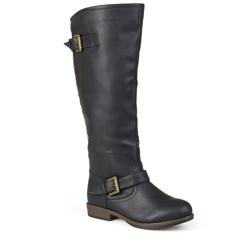 Journee Collection Black Spokane Studded Tall Boots - Women