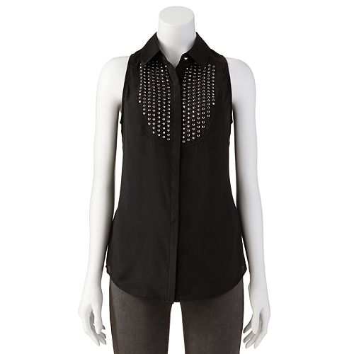 Rock & Republic Embellished Bib Shirt - Women's