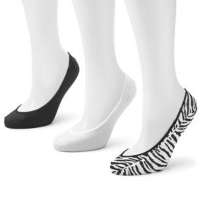 Apt. 9® 3-pk. Zebra Seamless No-Show Liner Socks