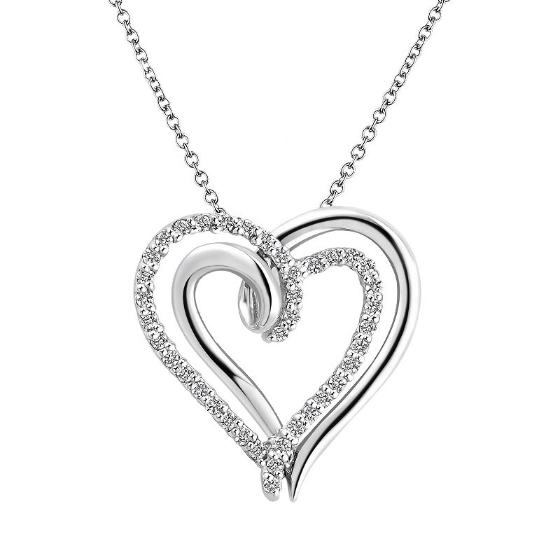 """Two Hearts Forever One Sterling Silver 1/4-ct. T.W. Diamond Heart Pendant, Women's, Size: 18"""", White"""