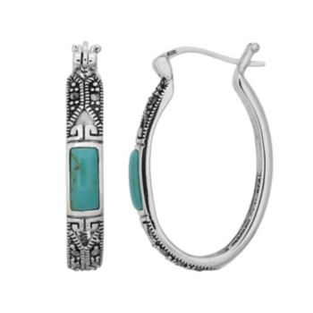 Tori Hill Sterling Silver Simulated Turquoise and Marcasite Oval Hoop Earrings