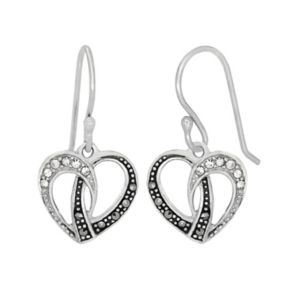 Tori Hill Sterling Silver Crystal and Marcasite Heart Drop Earrings