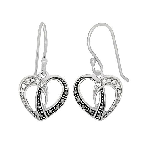Tori Hill Sterling Silver Crystal & Marcasite Heart Drop Earrings