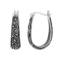Tori Hill Sterling Silver Marcasite Swirl Graduated U-Hoop Earrings