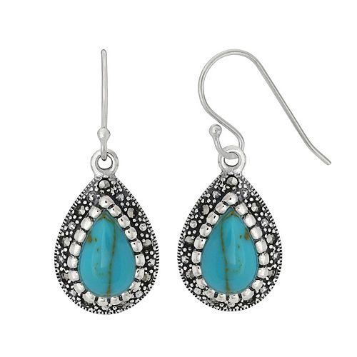 Tori Hill Sterling Silver Simulated Turquoise & Marcasite Teardrop Earrings