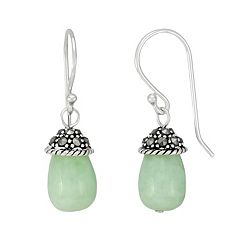 Tori Hill Sterling Silver Jade & Marcasite Drop Earrings