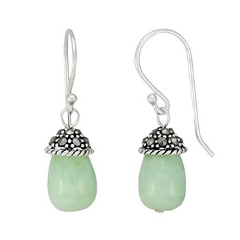 Tori Hill Sterling Silver Jade and Marcasite Drop Earrings