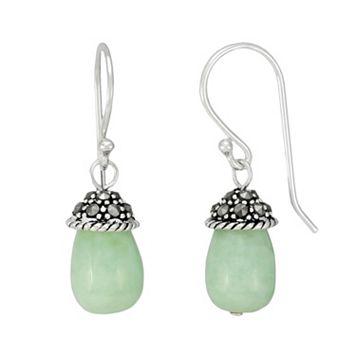 Tori Hill Sterling Silver Jade & Marcasite Drop Earrings