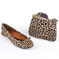 Sidekicks Side Women's Foldable Animal Print Ballet Flats