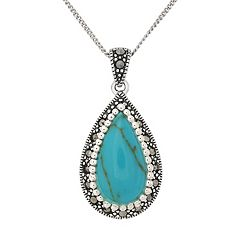 Tori Hill Sterling Silver Simulated Turquoise & Marcasite Teardrop Pendant