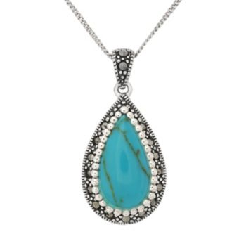 Tori Hill Sterling Silver Simulated Turquoise and Marcasite Teardrop Pendant