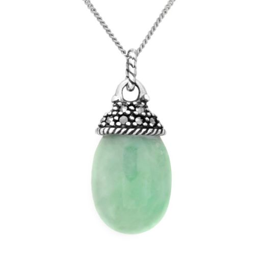 Tori Hill Sterling Silver Jade and Marcasite Pendant
