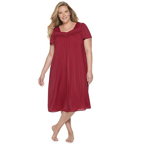 Plus Size Miss Elaine Essentials Pajamas: Long Tricot Nightgown