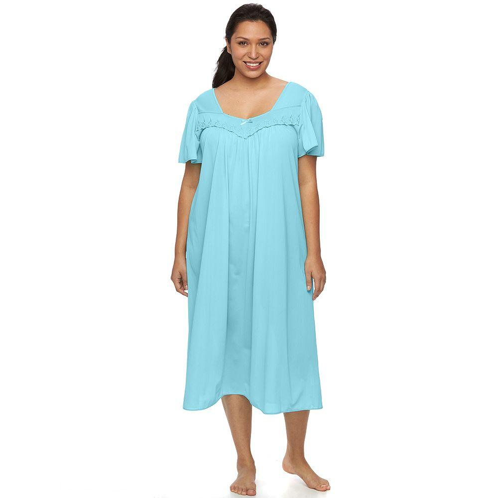 Plus Size Miss Elaine Essentials Pajamas: Long Tricot Nightgown