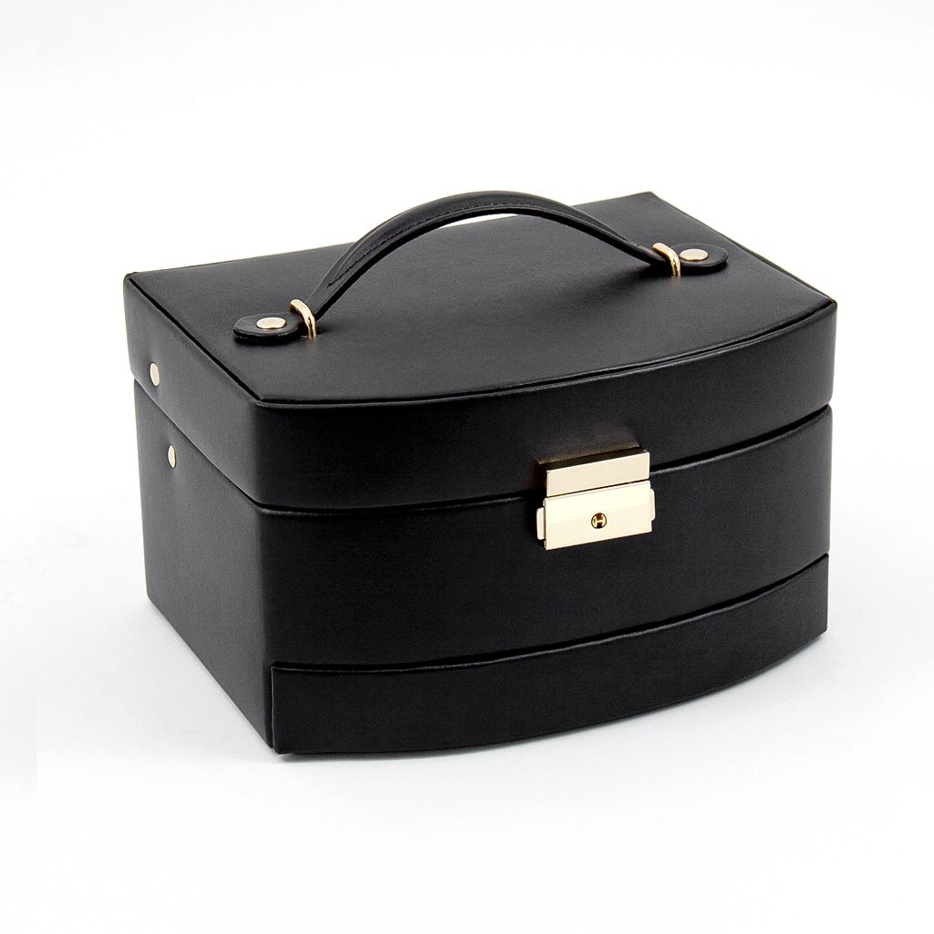 Bey-Berk Black Leather Jewelry Box & Travel Roll Set