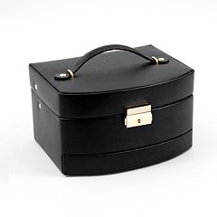 Bey-Berk Black Leather Jewelry Box & Travel Roll Set
