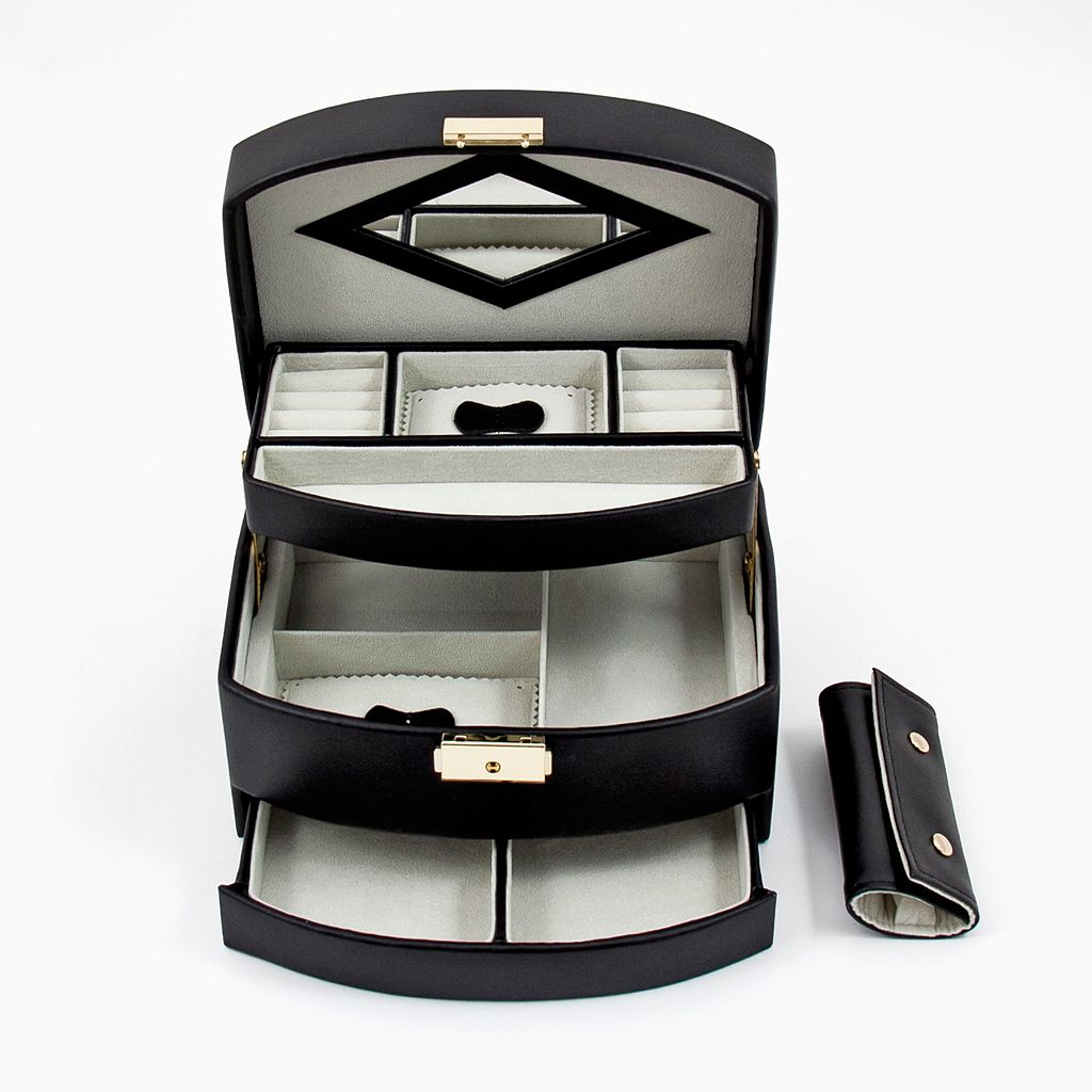 Bey-Berk Black Leather Jewelry Box and Travel Roll Set