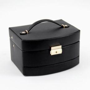 Bey-Berk Black Leather Jewelry Box and Travel Roll Set