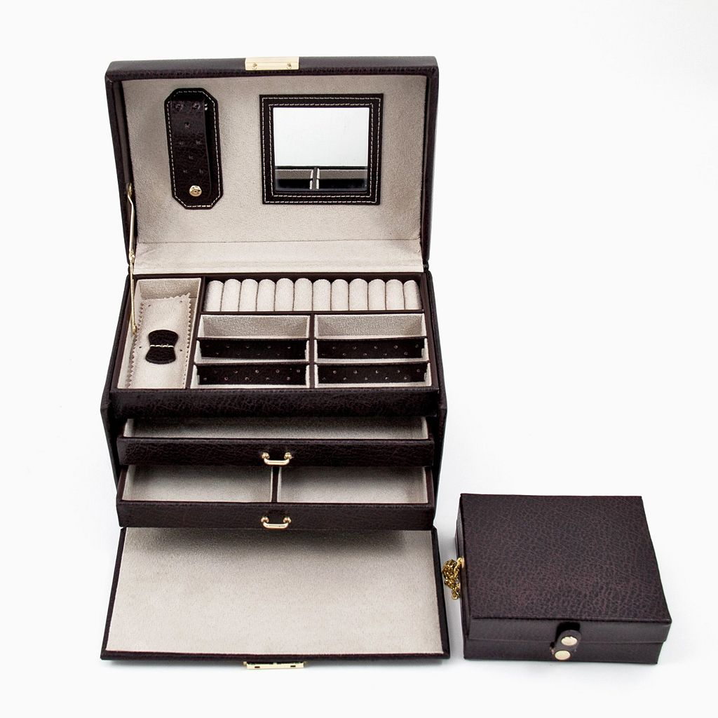 Bey-Berk Leather Jewelry Box and Travel Case Set
