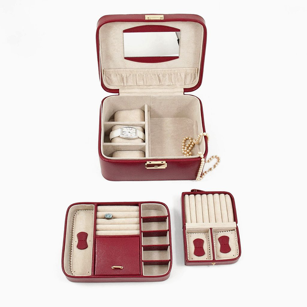 Bey-Berk Lizard Leather Jewelry Box, Valet and Travel Case Set