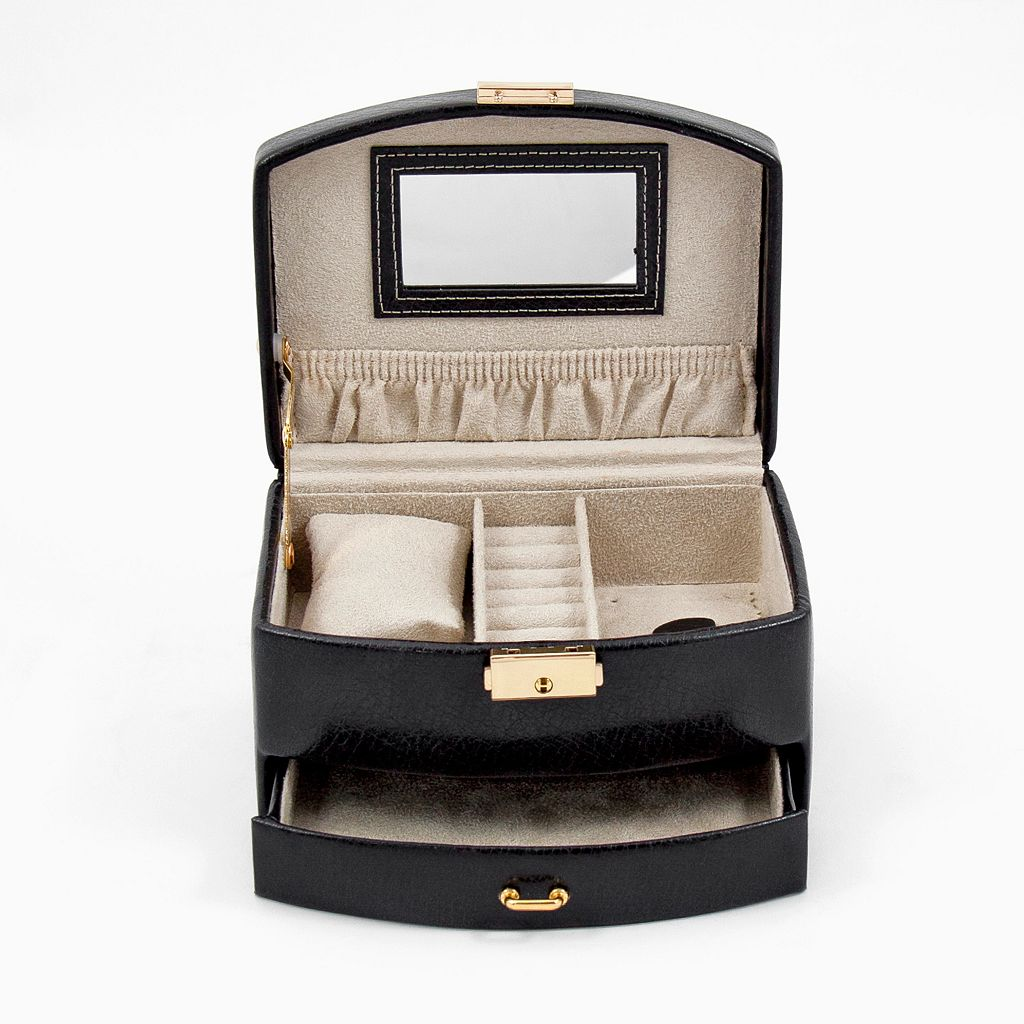 Bey-Berk Black Leather Jewelry Case