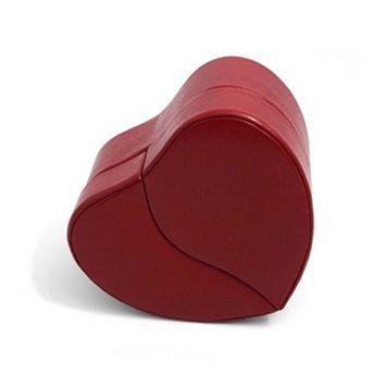 Bey-Berk Red Lizard Leather Heart Jewelry Box & Travel Case Set