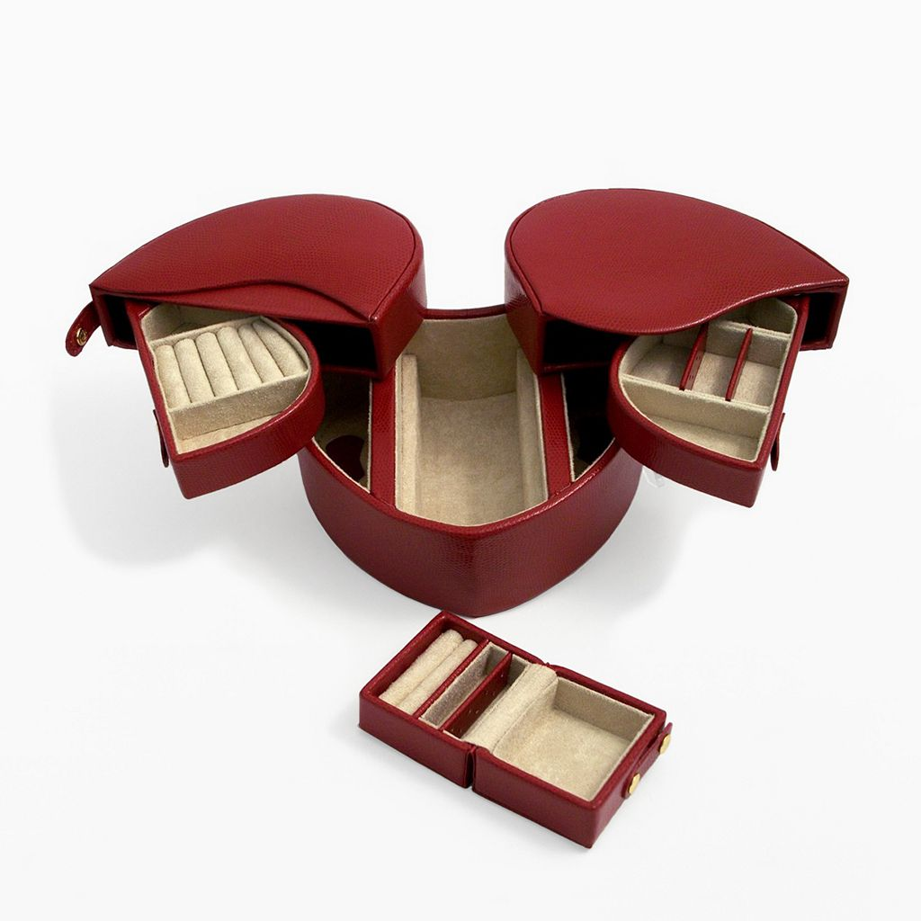 Bey-Berk Red Lizard Leather Heart Jewelry Box and Travel Case Set