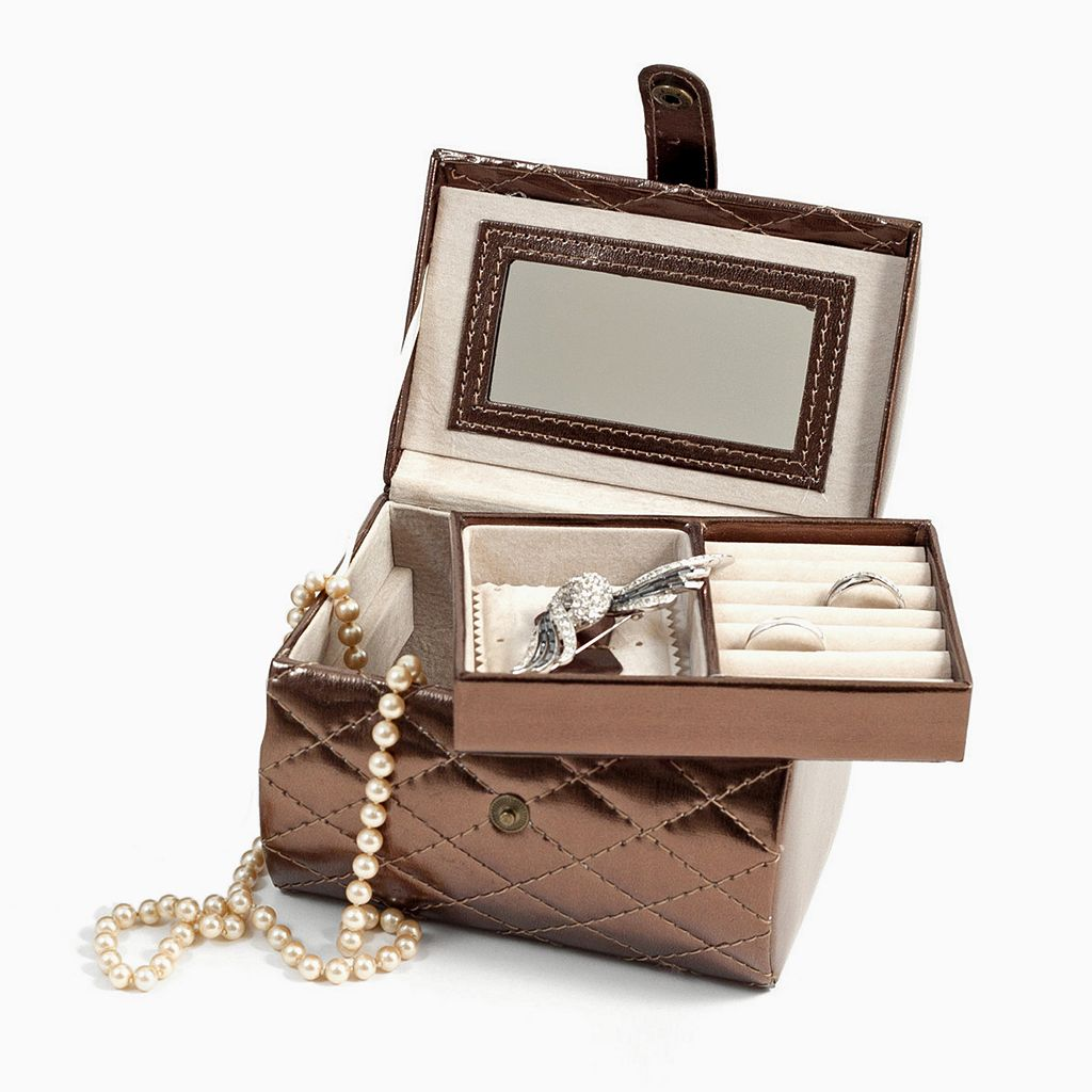 Bey-Berk Quilted Jewelry Case and Valet Tray Set