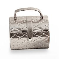 Bey-Berk Quilted Jewelry Case & Valet Tray Set