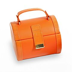 Bey-Berk Orange Crocodile Leather Jewelry Case & Valet Tray Set