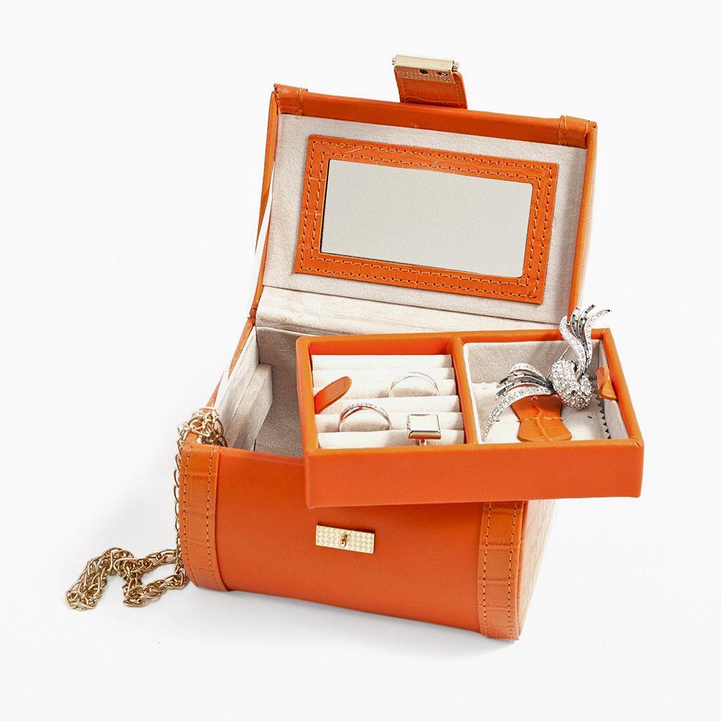 Bey-Berk Orange Crocodile Leather Jewelry Case and Valet Tray Set