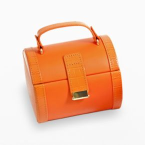 Bey-Berk Orange Crocodile Leather Jewelry Case and Valet Tray Set
