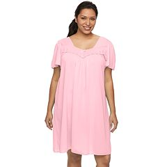 Plus Size Miss Elaine Essentials Pajamas: Short Tricot Nightgown