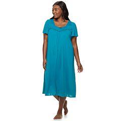 Plus Size Miss Elaine Essentials Pajamas: Short Tricot Nightgown