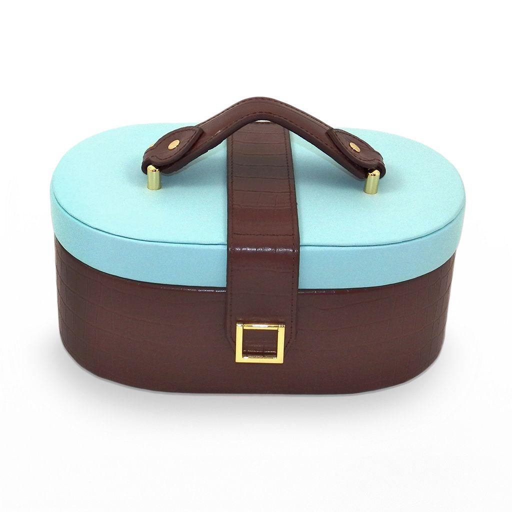 Bey-Berk Blue & Brown Crocodile Leather Jewelry Box, Travel Case & Valet Tray Set